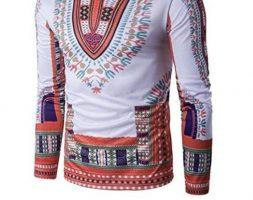 Temisan – Long Sleeves Tshirt White & Orange